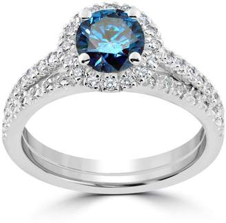 Pompeii3 1 1/2 ct Blue Diamond Halo Engagement Wedding Ring Set 14k White Gold Treated