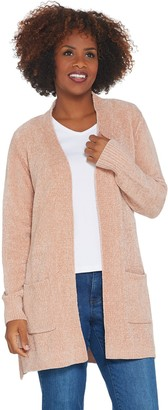 Denim & Co. Regular Chenille Long- Sleeve Open- Front Cardigan