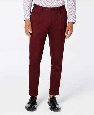 Tallia Men's Slim-Fit Pleated Cropped Solid Dress Pants