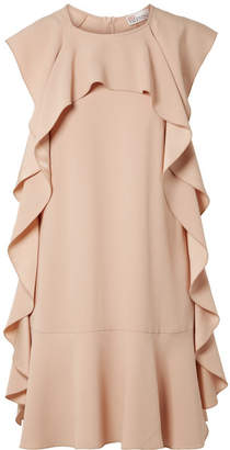 RED Valentino Ruffled Crepe Mini Dress - Beige
