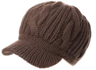 Siggi Coffee Women 100 Merino Wool Thick Knit Winter Beret Newsboy Hat Visor Cap