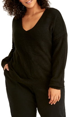 Rachel Roy Fuzzy Cotton Blend Sweater