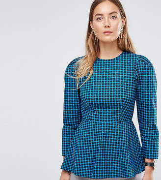 93a0eddbdee Asos Tall TALL Check Blouse With Peplum Detail