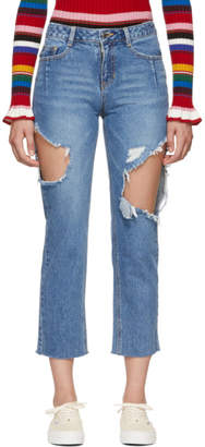 Sjyp Blue Side Cut-Off Jeans