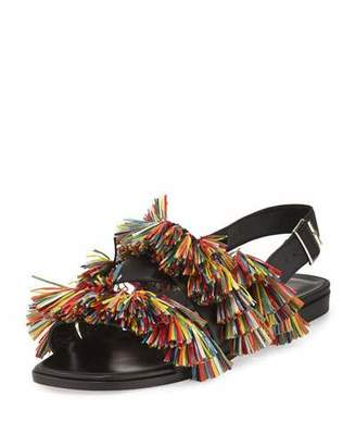 Manolo Blahnik Cuture Fringe Flat Slingback Sandal, Multicolor/Black $795 thestylecure.com