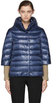 Herno Navy Down Cocoon Coat