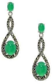 Lord & Taylor Sterling Silver, Marcasite & Green Agate Drop Earrings