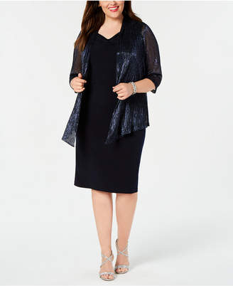 Connected Plus Size Sheath Dress & Metallic Jacket