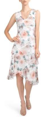 Komarov Tiered Chiffon Dress with Wrap
