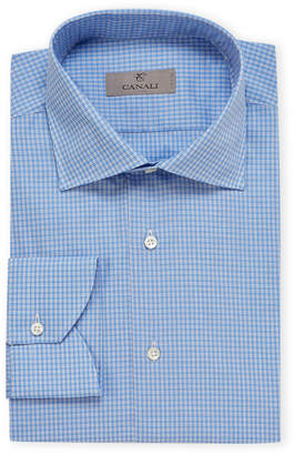 Canali Modern Fit Plaid Spread Collar Long Sleeve Dress Shirt