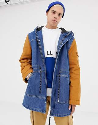 Collusion COLLUSION denim parka jacket with contrast sleeves