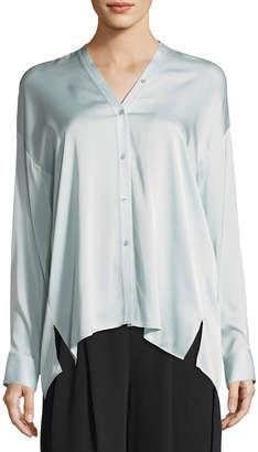 Vince Trapunto V-Neck Button-Front Silk Blouse