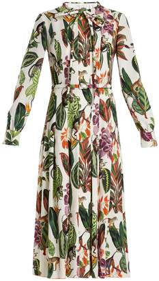 Oscar de la Renta Jungle-print tie-neck silk-blend georgette dress
