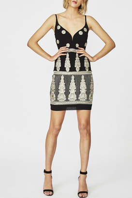 Nicole Miller Plunge Embroidered Dress