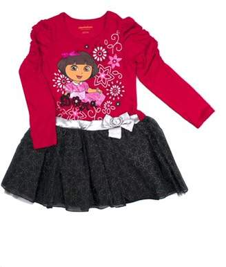 Dora the Explorer Graphic Long Sleeve Glitter Mesh Tutu Dress
