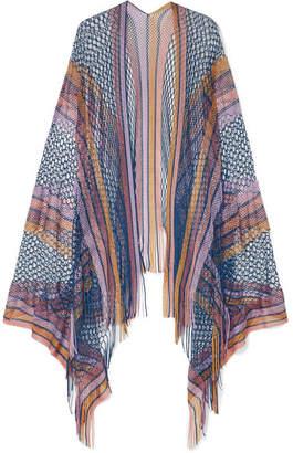 Missoni Fringed Metallic Crochet-knit Wrap - Purple