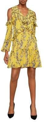 BCBGMAXAZRIA Shoulder Cut-Out Ruffled Dress