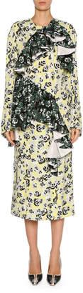Marni Mixed Pansy-Print Long-Sleeve Ruffle Midi Dress, White/Multi