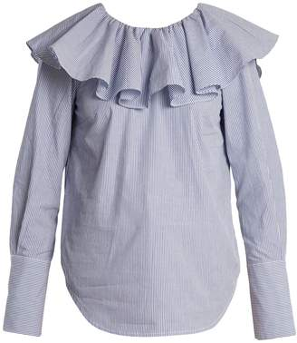 Sea Ruffled-yoke striped cotton shirt