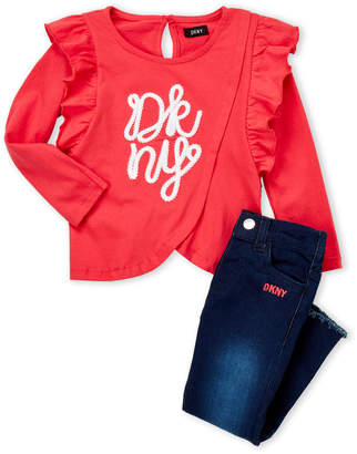 DKNY Toddler Girls) Two-Piece Rope Logo Top & Jeans Set