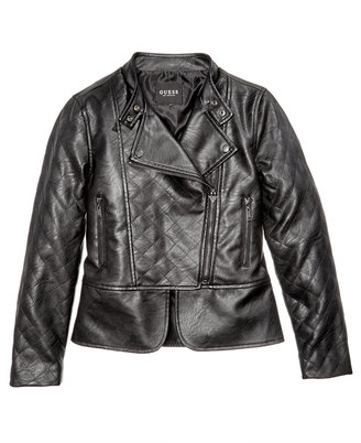 GUESS Faux Leather Bomber Jacket, Big Girls (7-16) $79 thestylecure.com