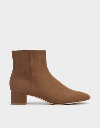 Charles & Keith Textured Block Heel Ankle Boots