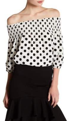 Blvd Elastic Off-the-Shoulder Polka Dot Top