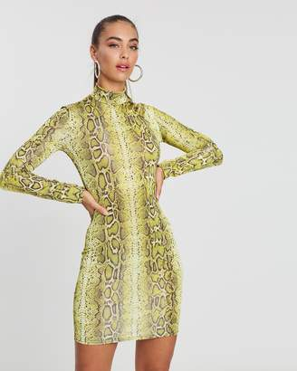 Missguided Snake Print High Neck Mini Dress