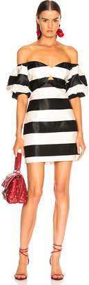 Caroline Constas Titos Dress in Black & White | FWRD
