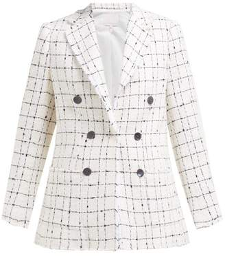 Rebecca Taylor Checked Double Breasted Cotton Blend Tweed Blazer - Womens - Ivory
