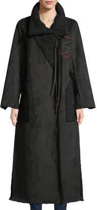 Baldan Amanda Long Tie-Front Faux-Suede Coat w/ Sun-Catcher Embroidery