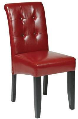 Office Star Metro Design by Products Parsons Tufted Button-Back Chair, Crimson Red