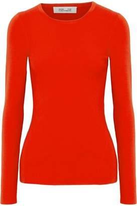 Diane von Furstenberg Cutout Ribbed Merino Wool-Blend Sweater