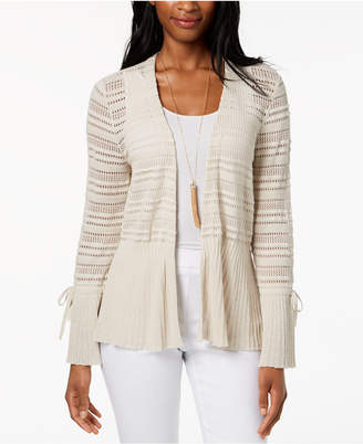 Style&Co. Style & Co Cotton Pointelle Peplum Cardigan, Created for Macy's