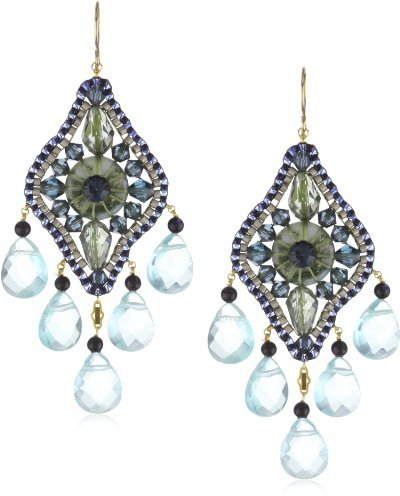 Miguel Ases Green Agate and Blue Topaz 14k Gold Filled Dangle Earrings