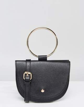 Melie Bianco Vegan Leather Crescent Across Body Bag With Hoop Hardware