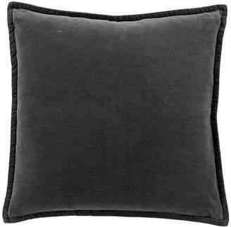 Pottery Barn Washed Velvet Pillow Cover - Ebony