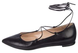 Gianvito Rossi Leather Pointed-Toe Lace-Up Flats