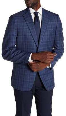 Calvin Klein Malik Plaid Notch Collar Double Button Slim Fit Wool Sportcoat