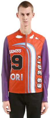 Kenzo Printed Leather Moto Jacket