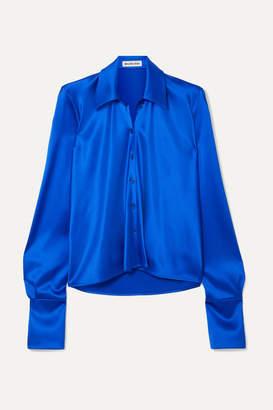Balenciaga Draped Satin Blouse - Blue