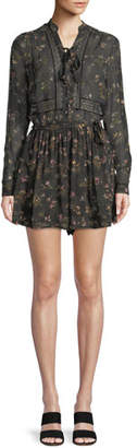 Zimmermann Long-Sleeve Floral-Print Playsuit w/ Lace Trim