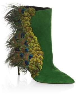 Paul Andrew Limited-Edition Pana Peacock Feather& Suede Booties