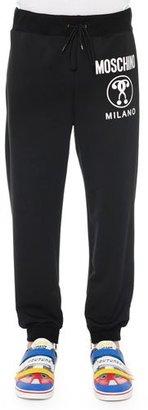 Moschino Logo-Print Pull-On Sweatpants, Black $465 thestylecure.com