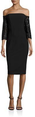 Black Halo Off-the-Shoulder Embroidered Dress $460 thestylecure.com