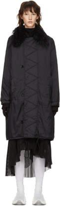 MM6 MAISON MARGIELA Black Fur Collar Coat