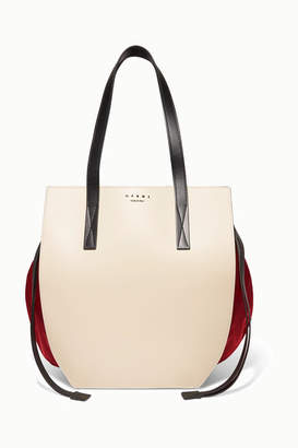 Marni Color-block Leather And Satin Shoulder Bag - Cream