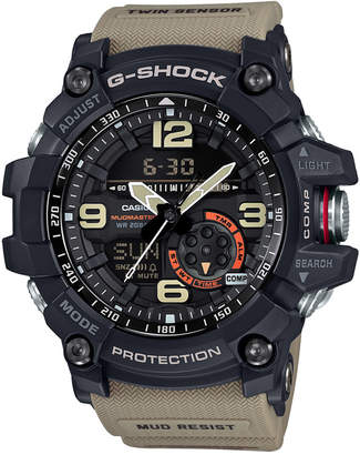 G-Shock Men's Analog-Digital Mudmaster Twin Sensor Khaki Strap Watch 56x55mm GG1000-1A5 $320 thestylecure.com