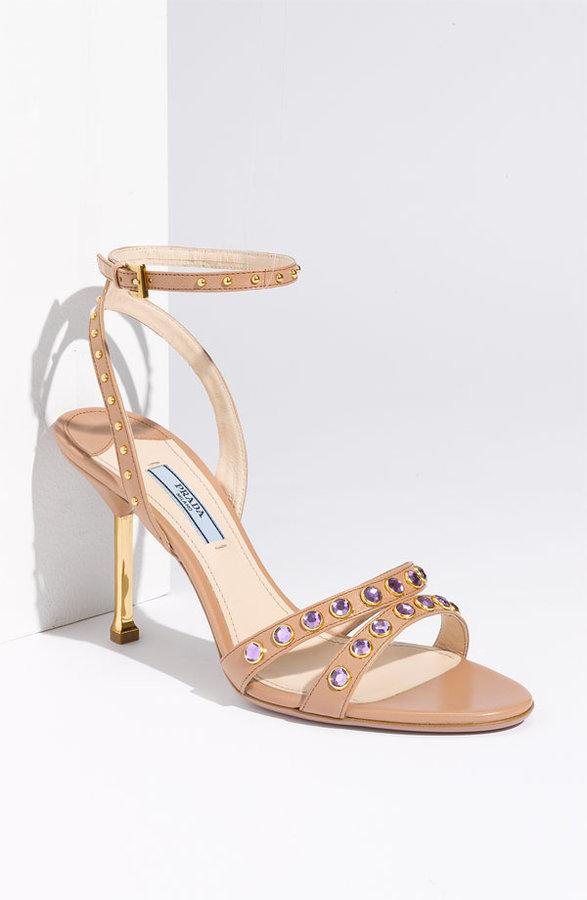 Prada Ankle Wrap Stud Sandal