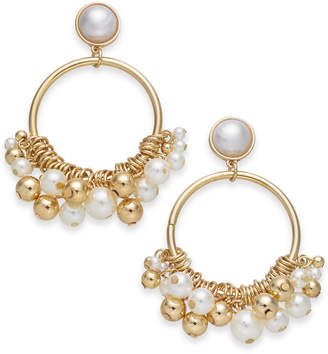 "INC International Concepts I.n.c. Extra Large 2.75"" Gold-Tone Imitation Pearl Shaky Drop Hoop Earrings"